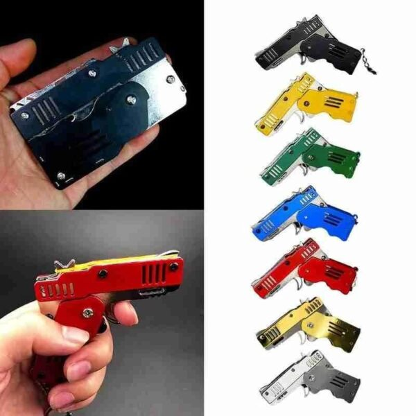 MINI FOLDING RUBBER BAND GUN KEYCHAIN