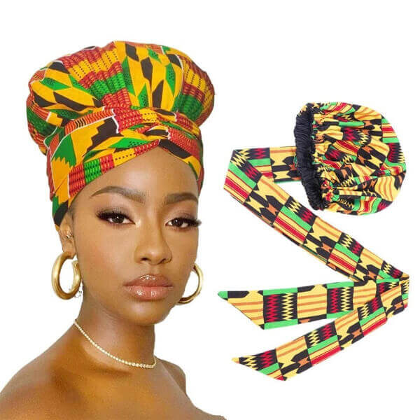 ETHNIC SLIP ON SATIN LINED HEADWRAP