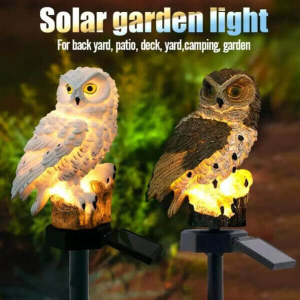 GARDEN OWL SOLAR POWERED LED LIGHT