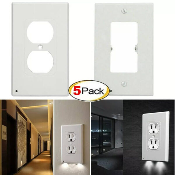 5 PACK DUPLEX WALL PLATE LED NIGHT LIGHT