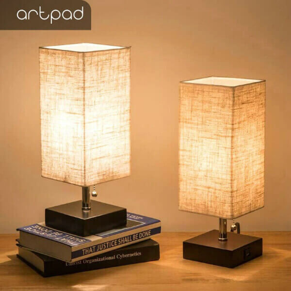 MODERN FABRIC WOOD LINEN USB CHARGING BED SIDE LAMP