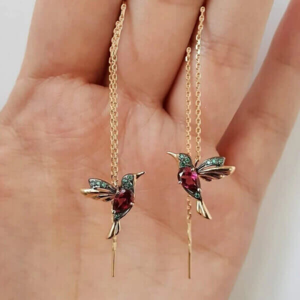 UNIQUE HUMMINGBIRD RHINESTONE EARRINGS