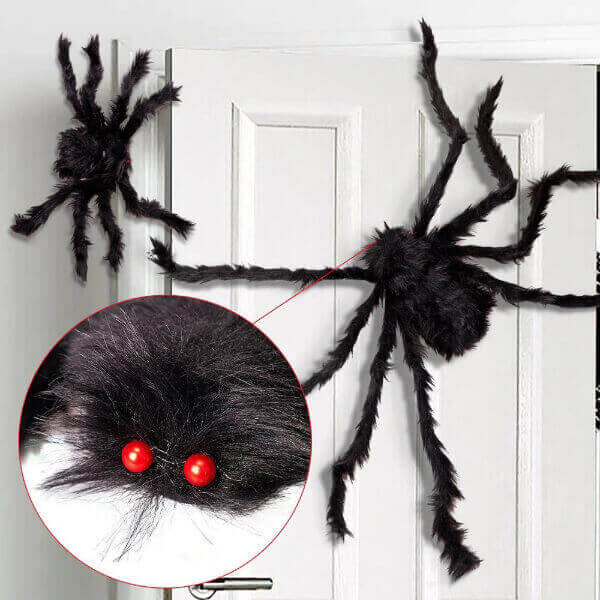 BLACK BIG HALLOWEEN PLUSH SPIDERS