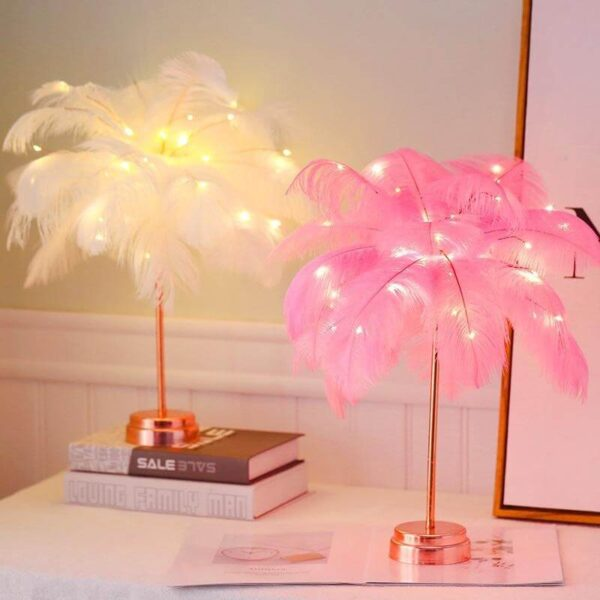 DECORATIVE RECHARGERABLE FEATHER TABLE LAMP