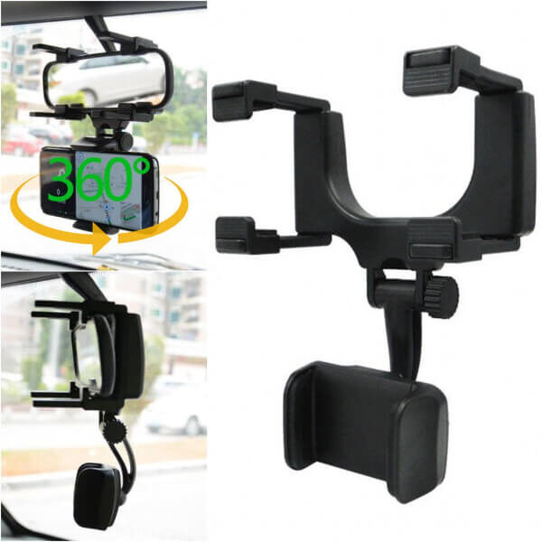REAR-VIEW MIRROR PHONE MOUNT