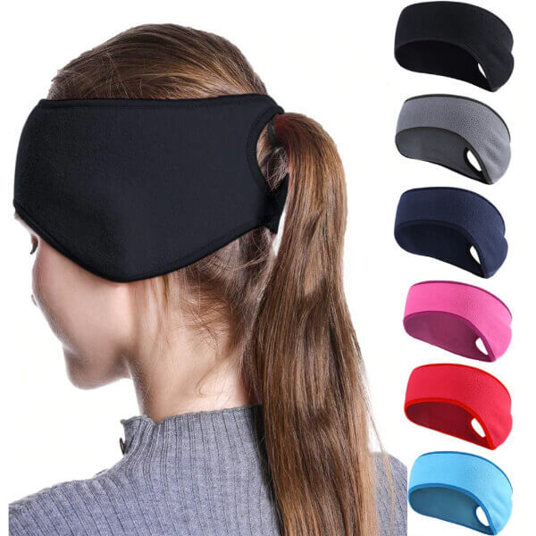 WINTER EAR COVER PONYTAIL HEADBAND