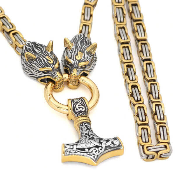 GOLD TRIMMED KING CHAIN WITH WOLF HEADS PENDANT