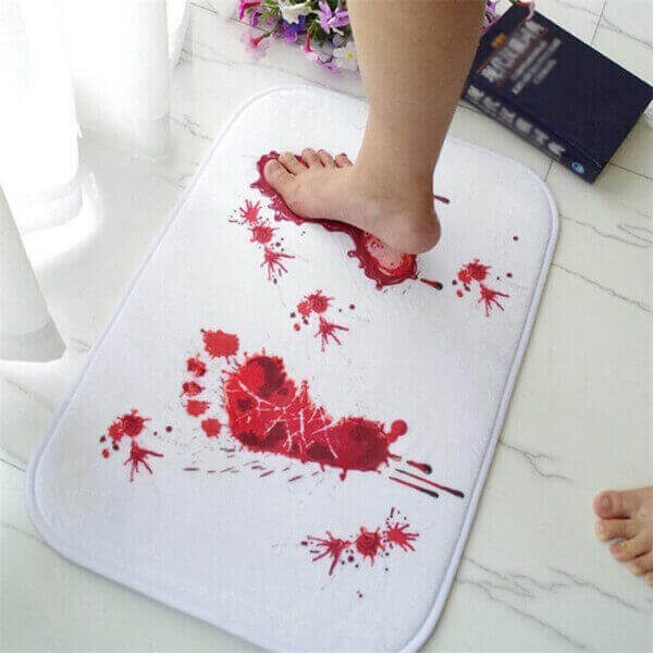 CREATIVE HALLOWEEN BLOOD FOOTPRINTS BATH MAT