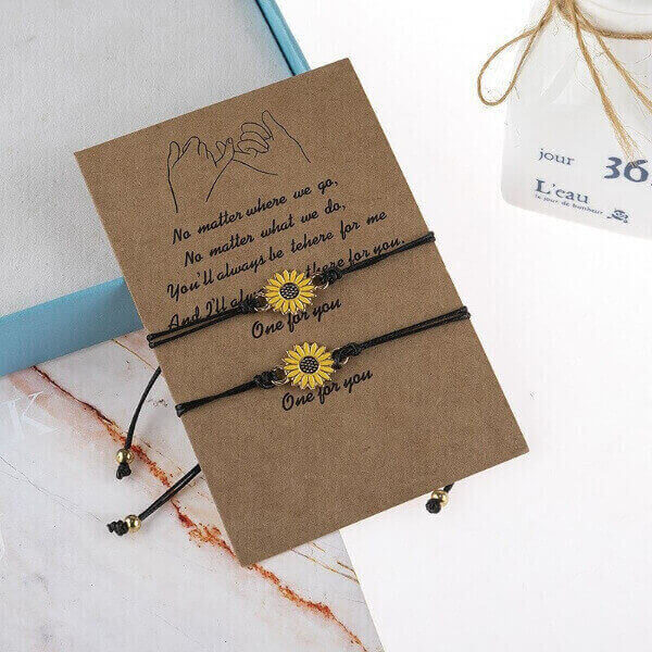 TOGETHER FOREVER SUNFLOWER BRACELET SET