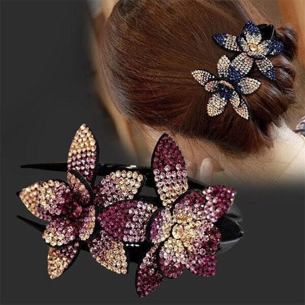 ELEGANT RHINESTONE DOUBLE FLOWER HAIR CLIP