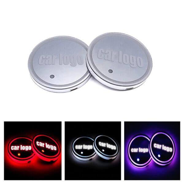 7 COLORS LED CAR LOGO CUP LIGHTS UP HOLDER