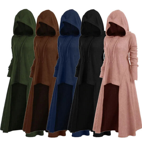 WOMEN HOODED LOW DROP LONGLINE SWEATER