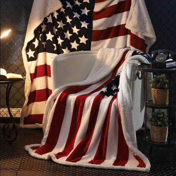 DIGITAL PRINTING AMERICAN FLAG BLANKET