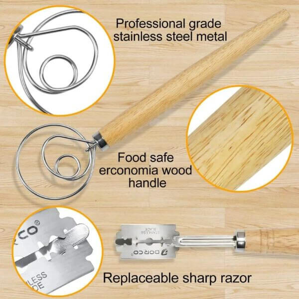 STAINLESS STEEL DANISH DOUGH WHISK