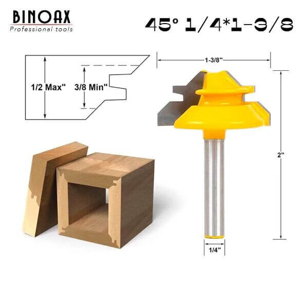 45 DEGREE LOCK MITER ROUTER BIT