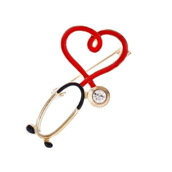LOVE HEART STETHOSCOPE MINI PIN