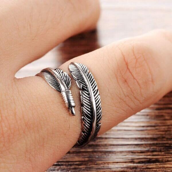 925 STERLING SILVER ANGEL FEATHER RING