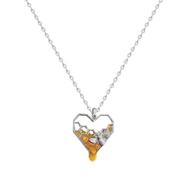 DRIPPING HONEY HEART BEE NECKLACE