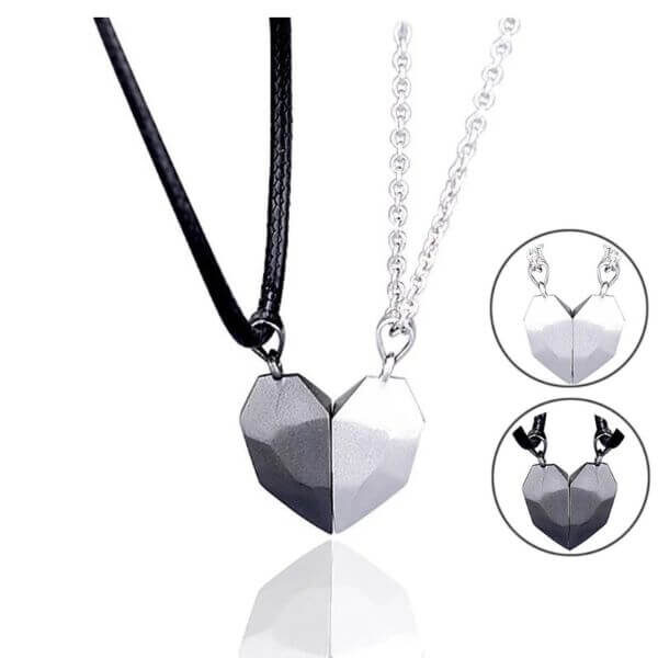 2PCS MAGNETIC LOVERS HEART NECKLACE