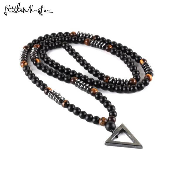 STYLISH HEMATITE TRIANGLE NECKLACE