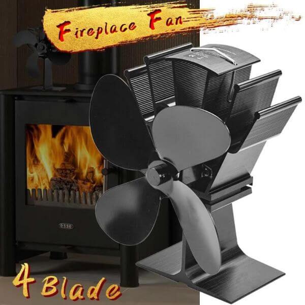 4 BLADE HEAT POWERED FIREPLACE FAN