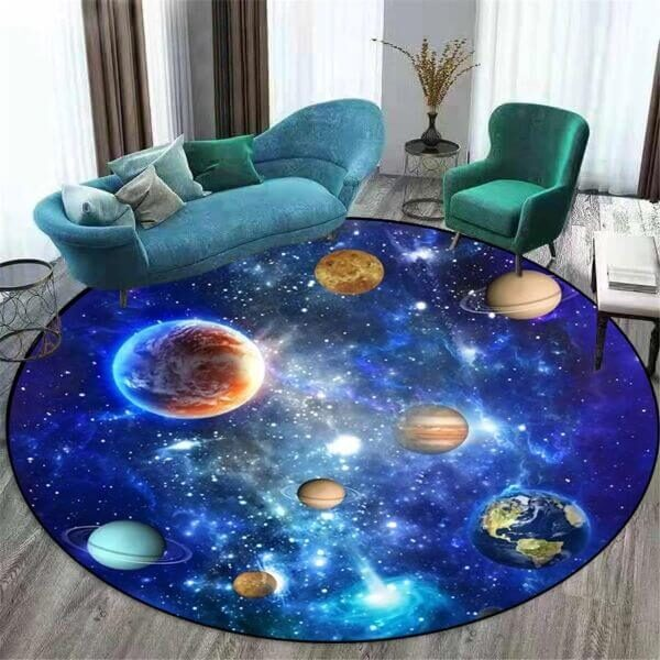 3D BLUE SOLAR SYSTEM CARPET