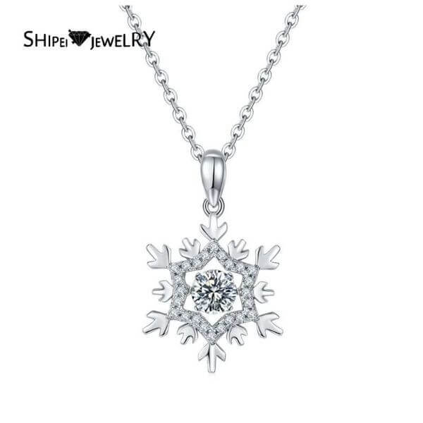 S925 SNOW FLOWER PENDANT NECKLACE