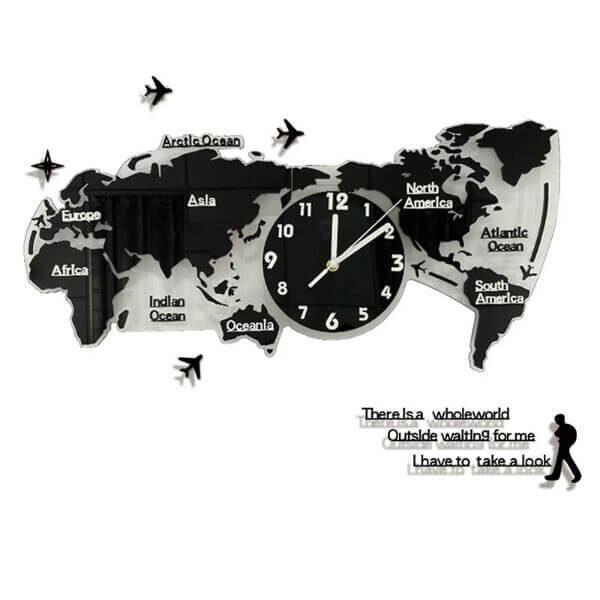 MINIMALIST LUMINOUS MUTE WALL MAP CLOCK