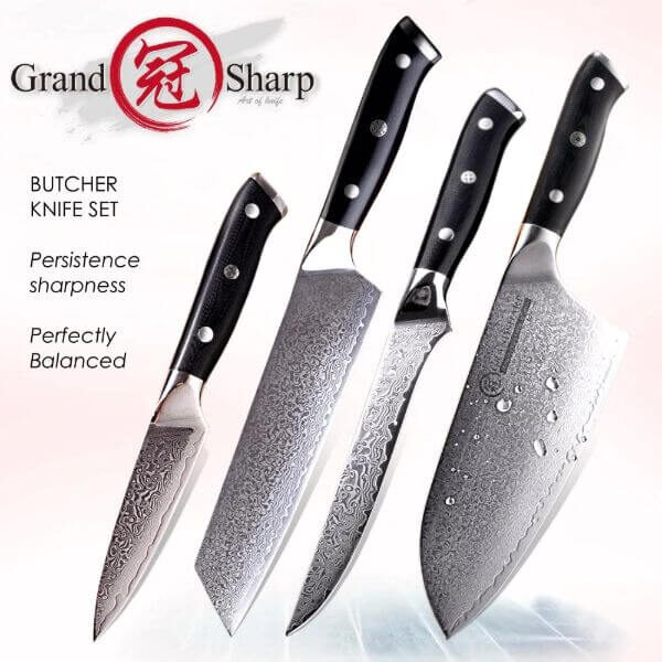 JAPANESE DAMASCUS STEEL BARBECUE KNIFE